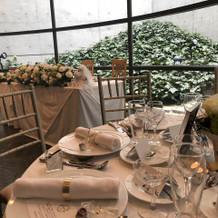 ゲストテーブルから見た高砂席。