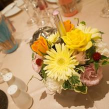 テーブル装花+演出の花火