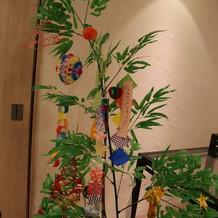 七夕が近いため、笹が飾ってあった