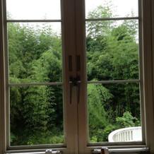 控室の窓。 周囲に緑があり落ち着きます