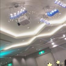 模擬披露宴の天井照明とプロジェクター
