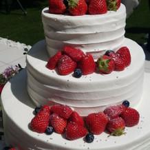 ガーデンでケーキ入刀