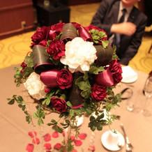 高砂のお花に合わせたゲストテーブル。