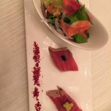 サラダと魚