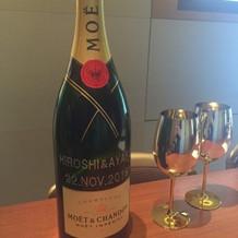 シャンパンにメッセージをいれる