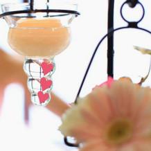 メインテーブル装花とキャンドル