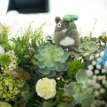 卓上装花のテーマは「ジブリの森」。