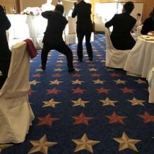 披露宴会場の床が星マークでした。