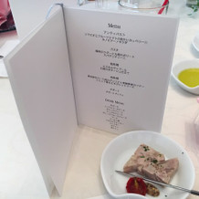 お食事メニュー表。