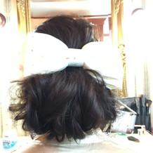 WDの際には髪飾りをリボンボンネに!