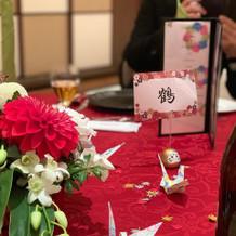 ゲストテーブルの装飾