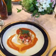 オマール海老のポワレと彩り野菜のエチュペ
