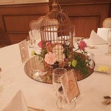 鳥かごのゲストテーブル装飾