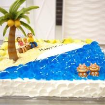 ケーキ入刀のオリジナルケーキ沖縄テイスト