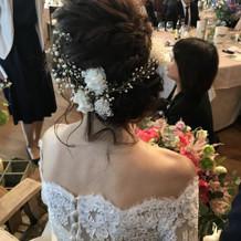 小枝+かすみ草のヘッドドレス