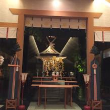 神殿。白山比咩神社の分霊したお社