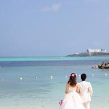 式後のビーチ撮影