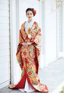 川島織物の赤地色打掛