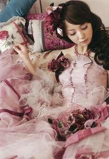 柔らかい色合いとふわふわチュールがポイントのアンティークドレス