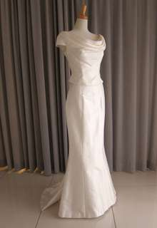 Silk taffeta drape top&mermaid line dress