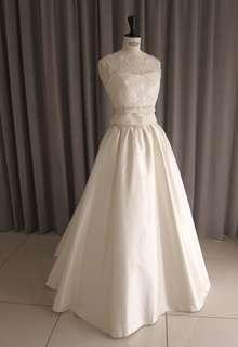 Silk taffeta&leaver lace top princess line dress