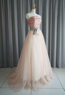 Rose pink shantung bustier & princess line skirt with tulle lace