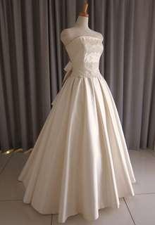 Silk taffeta&lace top princess line dress