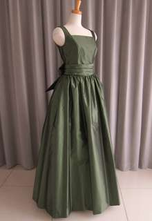 Dark green silk taffeta bell line dress