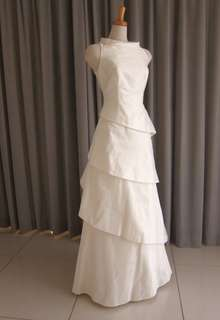 Silk taffeta tiered dress