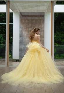 【Cinderella & Co.】イエローのチュールのカラードレスSS5982YE