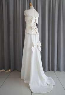 Silk jacquard bustier&soft mermaid line dress