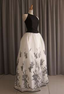 Black silk taffeta top&embroidery oeganza dress
