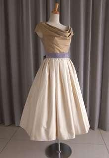 olive silk taffeta top&silk jacquard mide dress