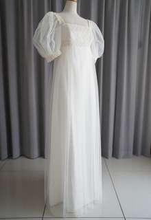 Italian georgette,tulle & cotton lace empire dress