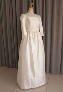 Silk shantung & lace dress