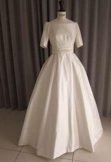 Silk taffeta off shoulder princess line dress