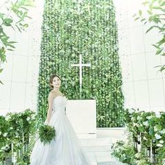 グリーンの背景は純白ウェディングドレスをより輝かせ 一生残るお写真も美しく残ります
