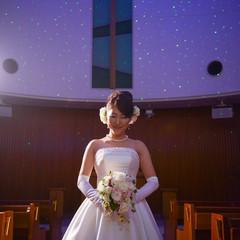 星空の中では花嫁のドレス姿が一層引き立つ
