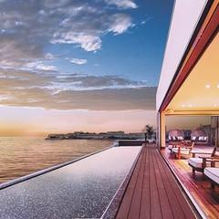海と繋がるゲストラウンジから眺む、夕暮れが創り出す幻想的なグラデーション。