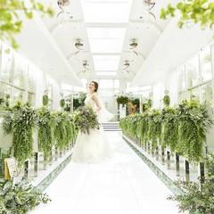 <エテルネルジュネス> チャペルには清らかな水が流れ、水・緑・光が交差して生まれる輝きが花嫁をより美しく幻想的に魅せる。 都心にいながら自然に抱かれるような解放感