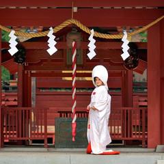 河口湖最古の神社で行なう神前式