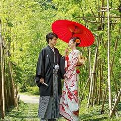 人気ナンバー1の竹道前で記念写真