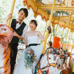 メリーゴーランド 遊園地 動物園 しーちゃんの前撮り ロケーションフォト 熊本 ウェディングドレス