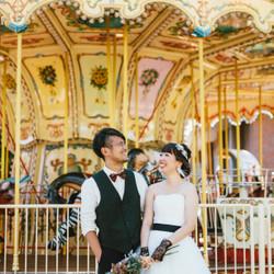 メリーゴーランド しーちゃんの前撮り ロケーションフォト 熊本 ウェディングドレス