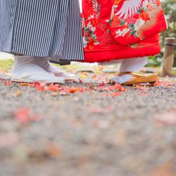 和装 ロケーション 庭園 紅葉 色打掛 黒紋付袴 足元カット