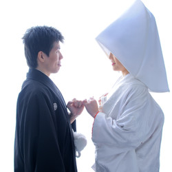 和装 スタジオ 白無垢 黒紋付袴 指切り