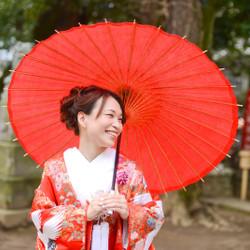 色打掛 和装 ロケーション 紋付袴 洋髪 神社 番傘