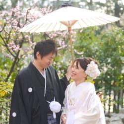 白無垢 梅 和装 ロケーション 紋付袴 洋髪 神社#版笠