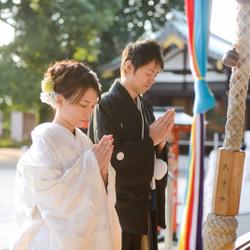 白無垢 和装 ロケーション 紋付袴 洋髪 神社