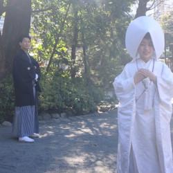 黒紋付袴 白無垢 神社